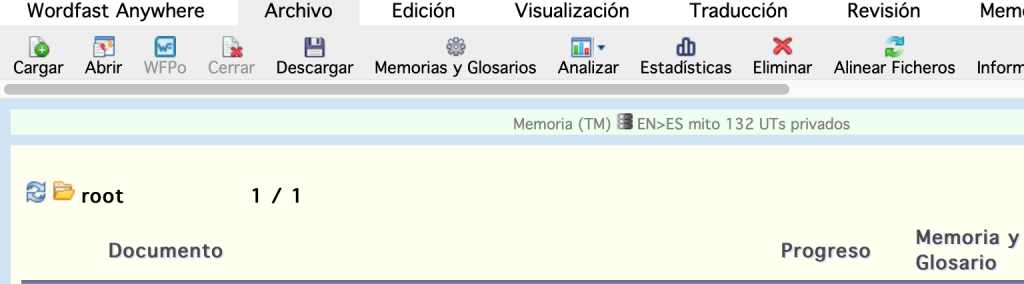 Interfaz de Wordfast en español