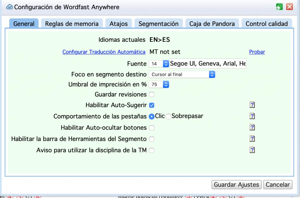 Deshabilitar traducción automática en Wordfast